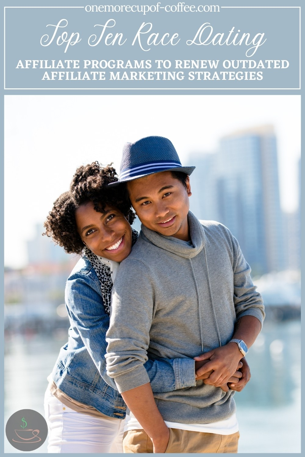 smiling interracial couple, the woman hugging the man from the back, with text at the top