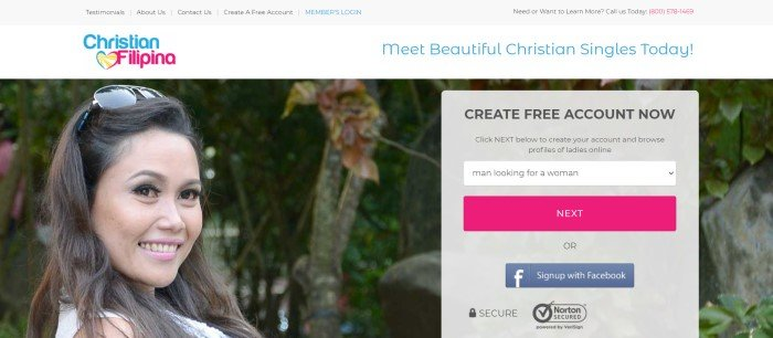 This screenshot of the home page for Christian Filipina has a gray navigation bar, a white announcement bar with blue and pink text, a photo of a smiling beautiful woman, and a gray opt in box with a pink call to action button and a blue button for signing up through Facebook.