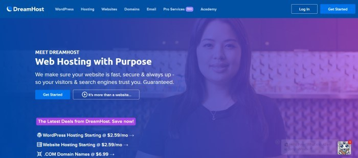 This screenshot of the home page for DreamHost has a blue header and blue filtered photo of a smiling woman behind white text with a blue call to action button and a purple call to action button.