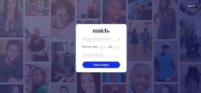 This screenshot of the home page for Match.com has a dark-filtered collage of photos of single people behind a white opt-in box with a blue call to action button.