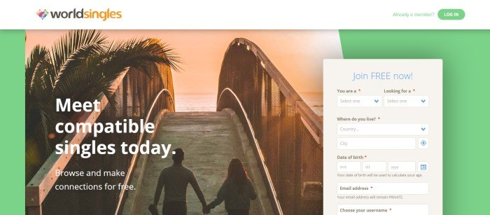 This screenshot of the home page for Word Singles shows a man and a woman holding hands, preparing to cross an arched bridge near a beach at sunset, along with white text and a beige box for opting into the program.