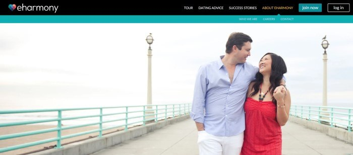 This screenshot of the home page for eHarmony shows a smiling man in a blue shirt and white pants and a smiling woman in a red dress walking with their arms around each other, gazing at each other, on a dock with the ocean behind them.