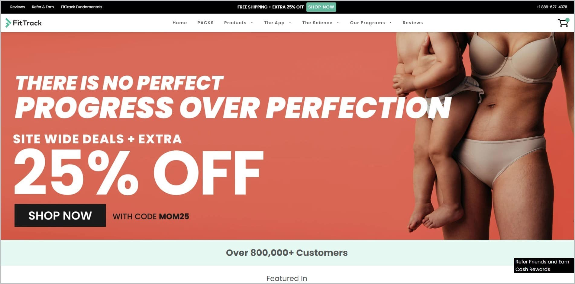 screenshot of FitTrack homepage with black announcement bar, white header with the website's name and main navigation menu, it showcases a partial image of a woman and her baby in nude-color underwear