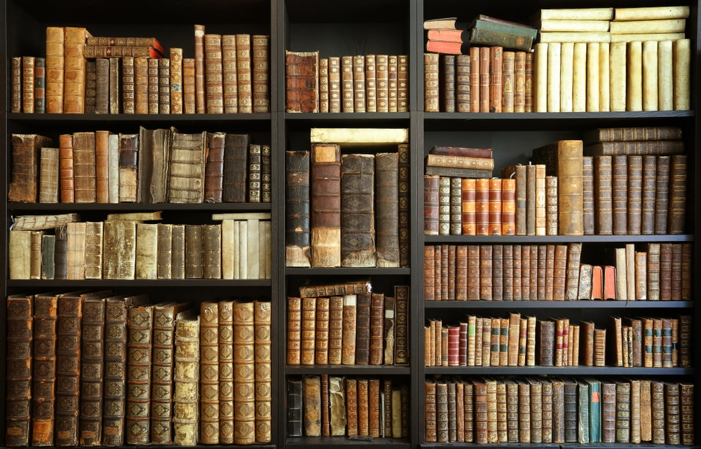 historical old books in library