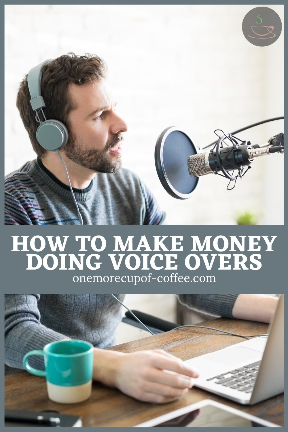 bearded man in grey-blue sweater doing a voice over in front of his equipment, with text overlay in greyish blue banner