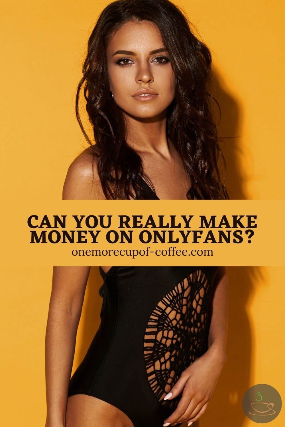 Long-haired woman in black lacy one piece swimsuit posing against a yellow background; with text overlay